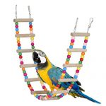 33-inch Wood Parrot Ladder Toy Bird Swing Rainbow Bendable Bridge Chewing Cage Nest All Pets by Kintor