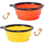 Comsun 2-pack Collapsible Dog Bowl, Food Grade Silicone BPA Free, Foldable Expandable Cup Dish for Pet Cat Food Water Feeding Portable Travel Bowl Orange and Yellow Free Carabiner